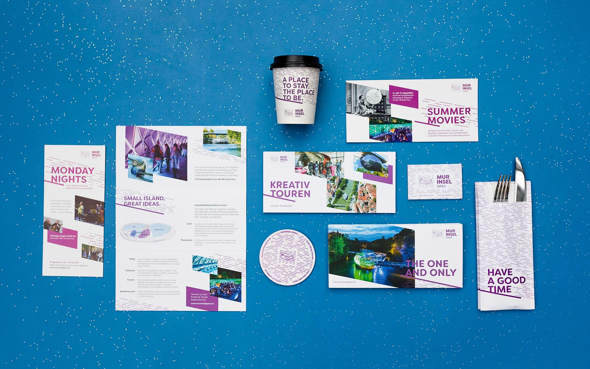 Markenentwicklung Printdesign und Werbemittel von look design Graz fuer Murinsel