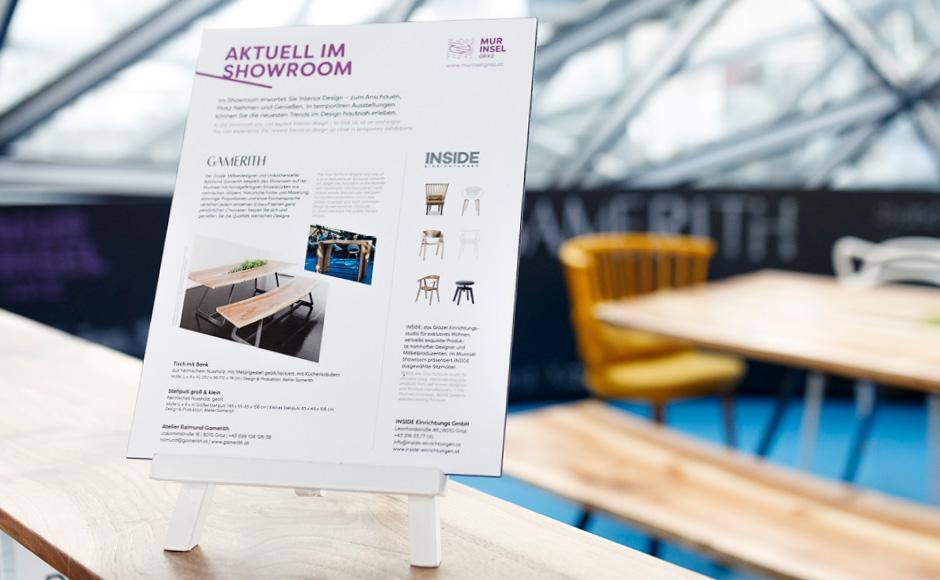 Markenentwicklung Printdesign Produktbeschilderung von look design Graz fuer Murinsel