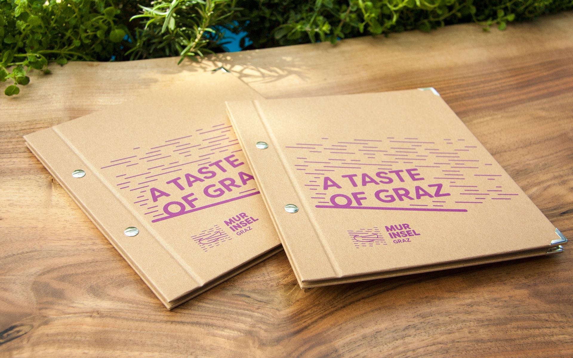 Markenentwicklung Printdesign Speisekarte von look design Graz fuer Murinsel