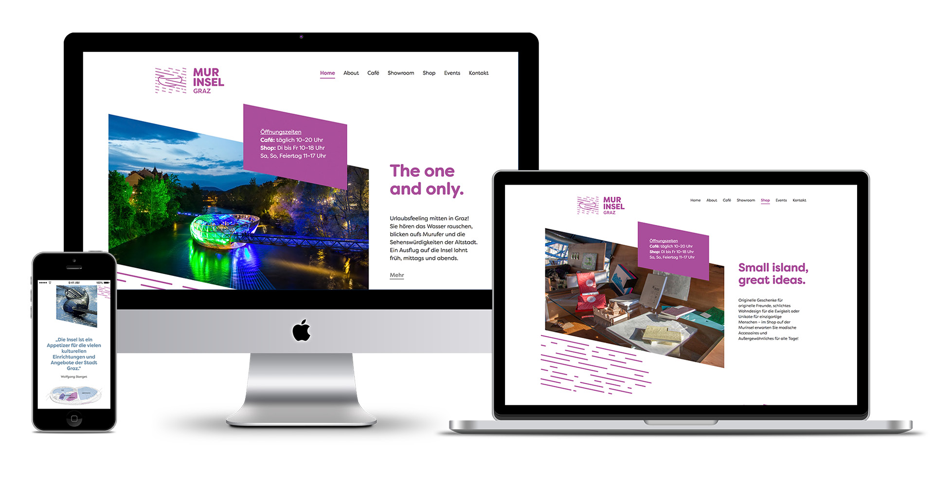 Markenentwicklung Webdesign von look design Graz fuer Murinsel