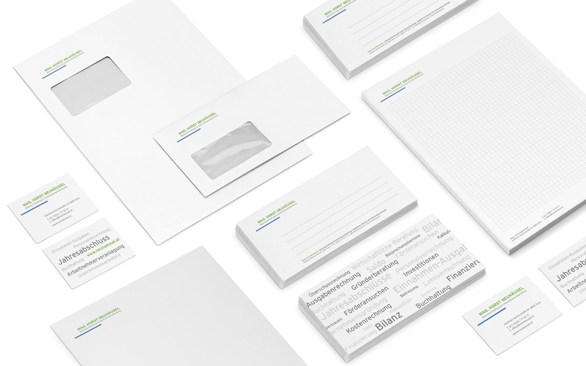 Stationary für Horst Neuhäusel von der Werbeagentur look! design