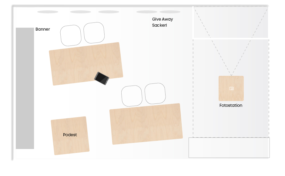Messestand der Lehrlingskampagne für die voestalpine von der Werbeagentur look! design