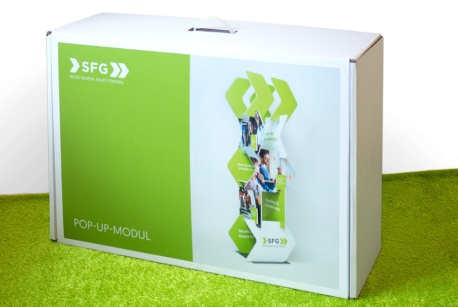 Pop-up statt Roll-up: Flexibles Messemodul für die SFG von der Werbeagentur look! design