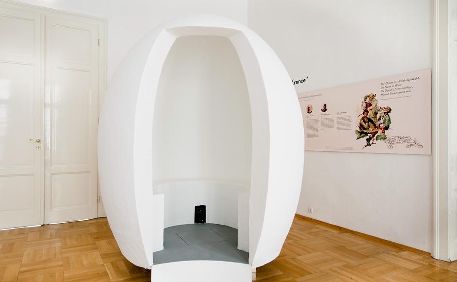 """Ausstellungsgrafik für die Peter Rossegger Ausstellung """"Im Krug zum grünen Kranze"""" im GrazMuseum von der Werbeagentur look! design"""