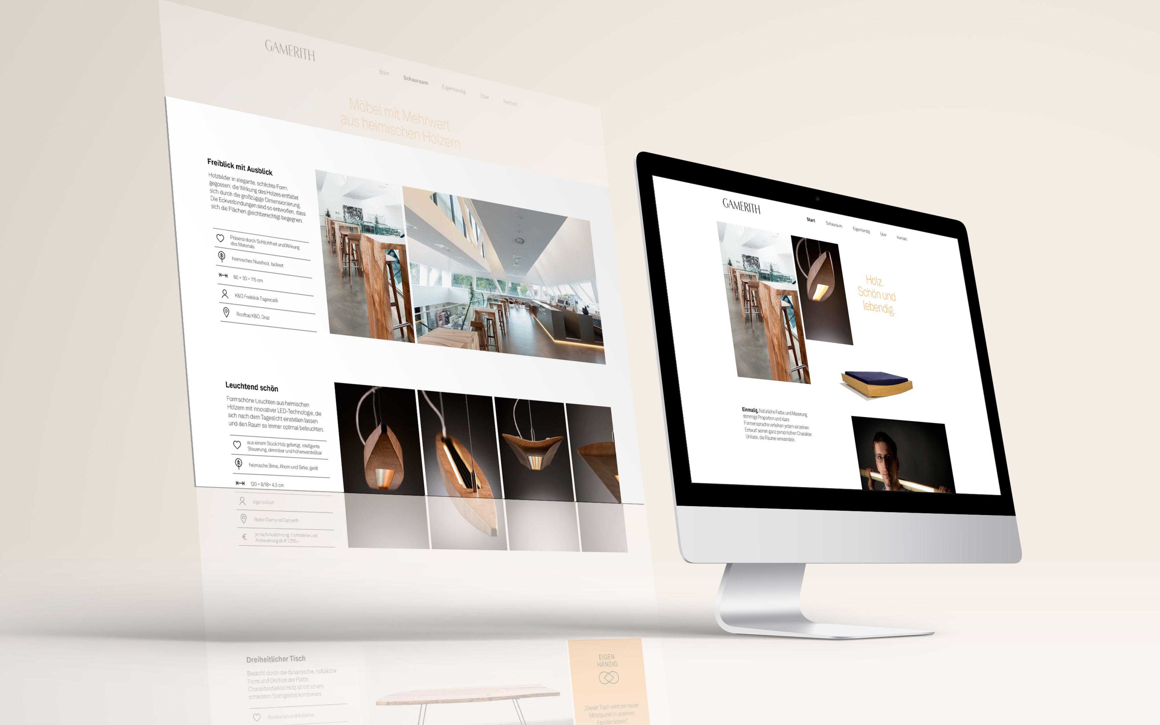 Webauftritt für das Atelier Gamerith von der Werbeagentur look! design