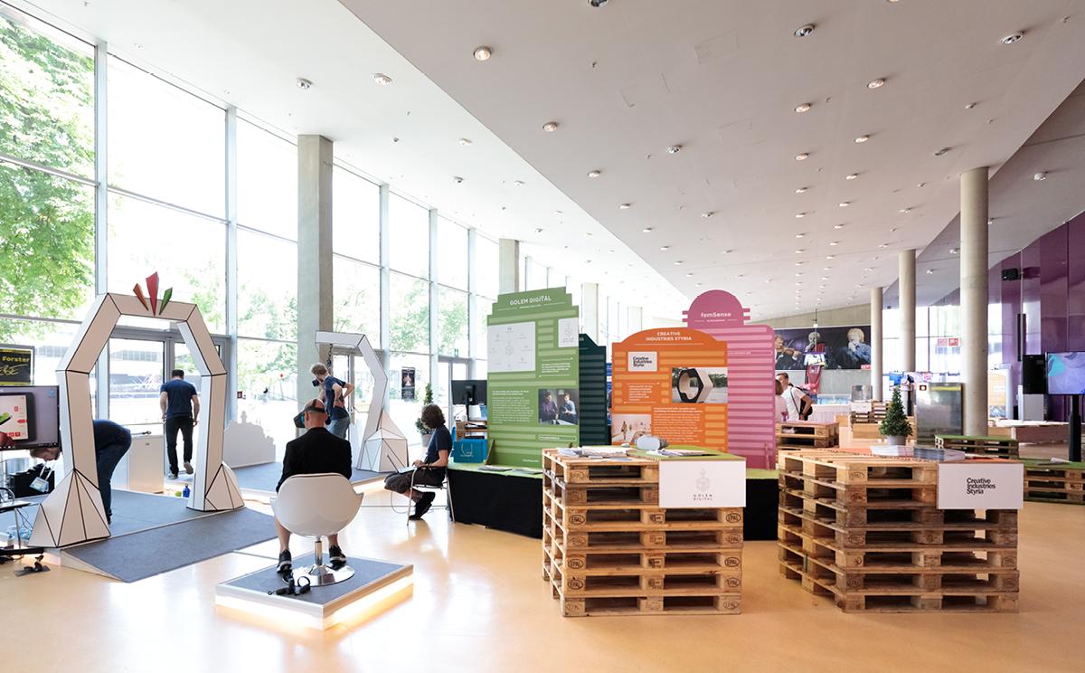 Ausstellungsdesign von Kreativagentur look design Graz am Zukunftstag 2019 fuer SFG