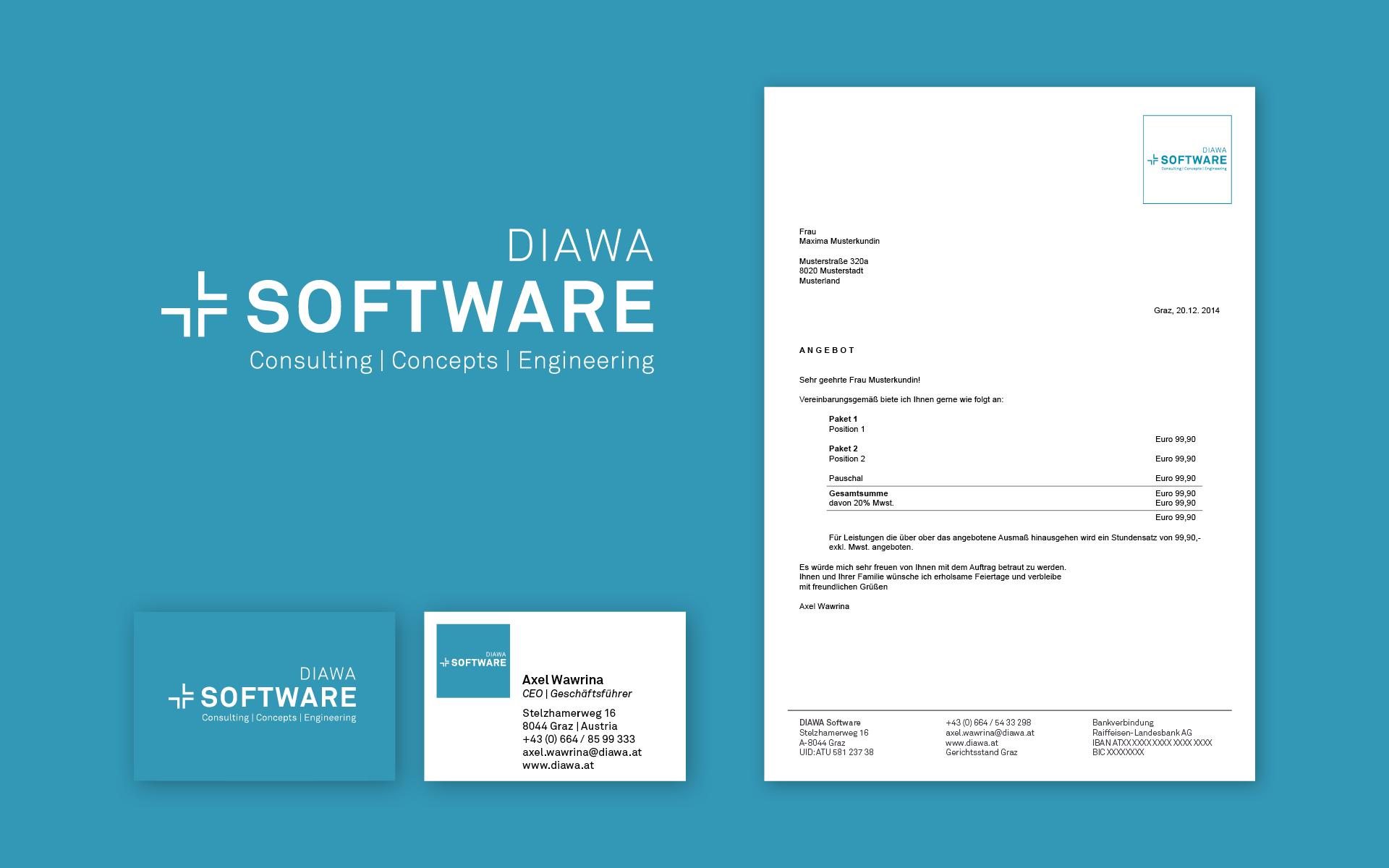 Erscheinungsbild für DIAWA Interiors und DIAWA Software von der Designagentur look! design