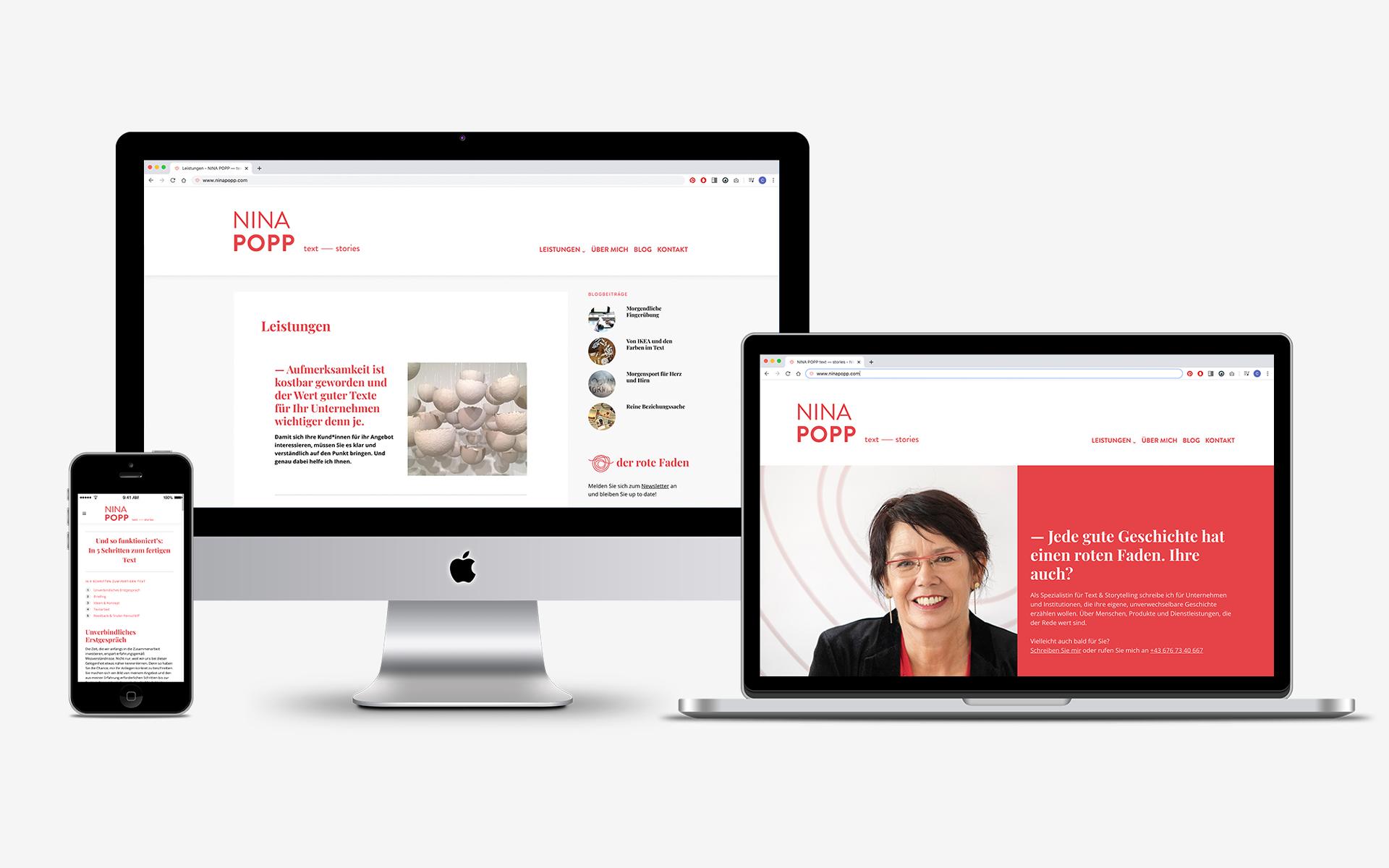 Website für die Texterin Nina Popp von look! design im Rahmen vom Redesign ihrer Marke