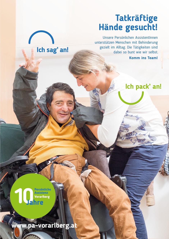 Kommunikationskonzept im Rahmen des 10-jährigen Jubiläums der Servicestelle Persönliche Assistenz Vorarlberg von der Designagentur look! design