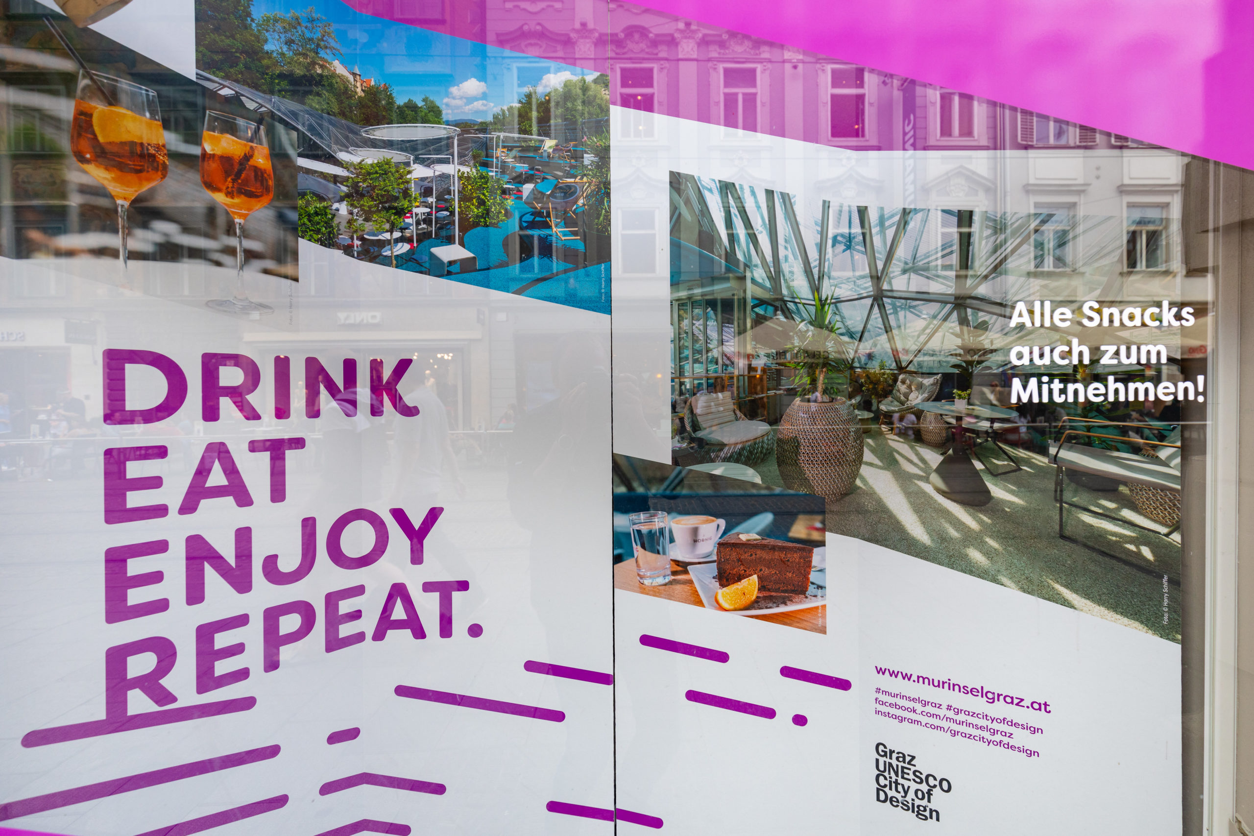 Temporäre Auslagengestaltung für die Grazer Murinsel bei Gerry Weber von der Designagentur look! design