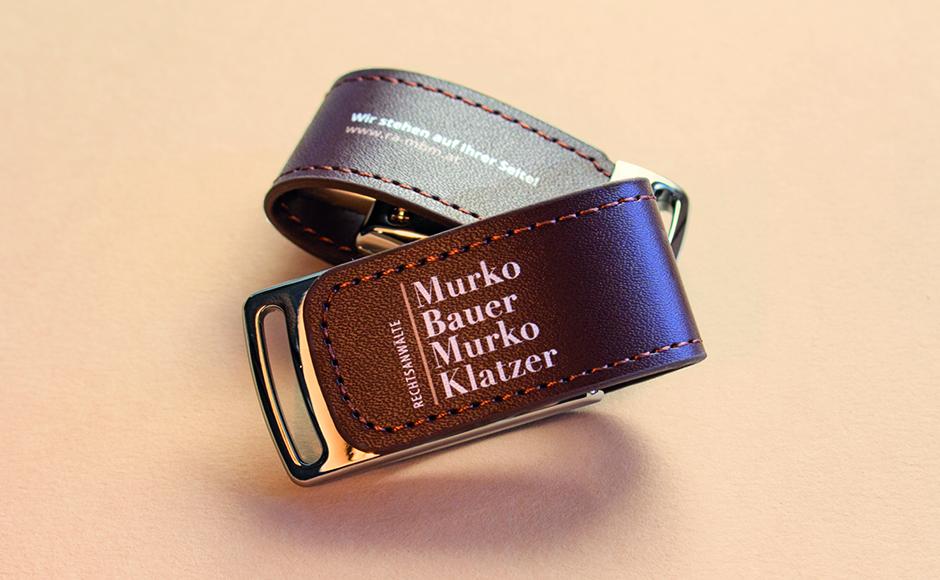 USB-Sticks im Rahmen des Redesign für Rechtsanwaltskanzlei Murko Bauer Murko Klatzer von look! design