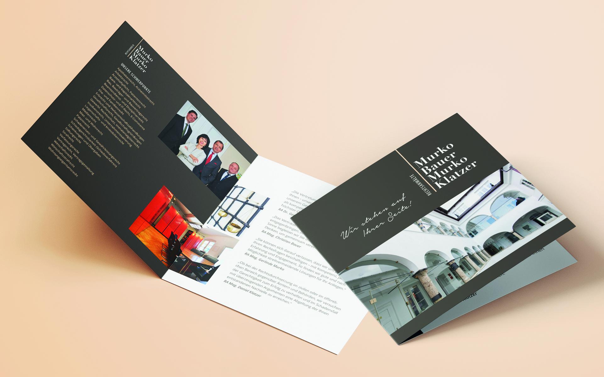 Folder im Rahmen des Redesign für Rechtsanwaltskanzlei Murko Bauer Murko Klatzer von look! design