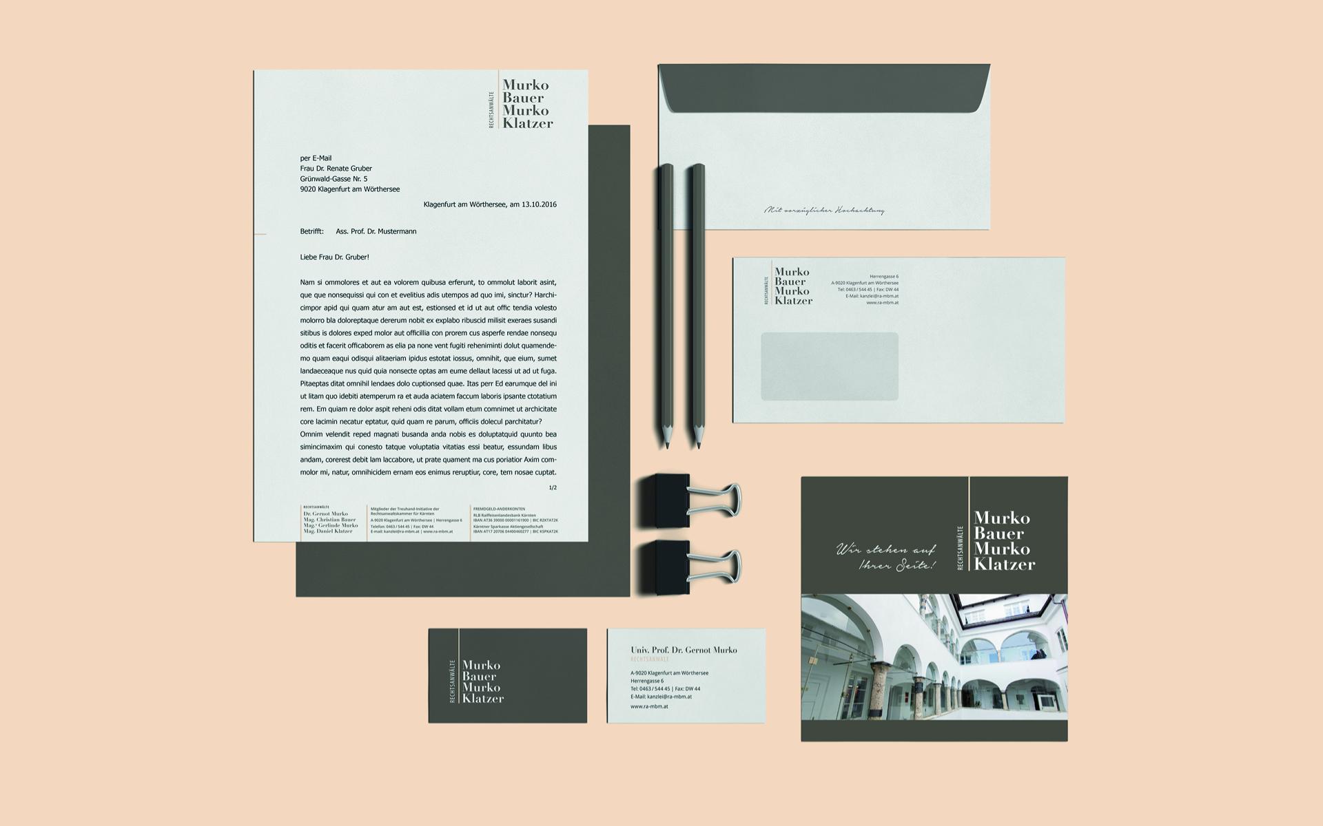 Drucksorten im Rahmen des Redesign für Rechtsanwaltskanzlei Murko Bauer Murko Klatzer von look! design