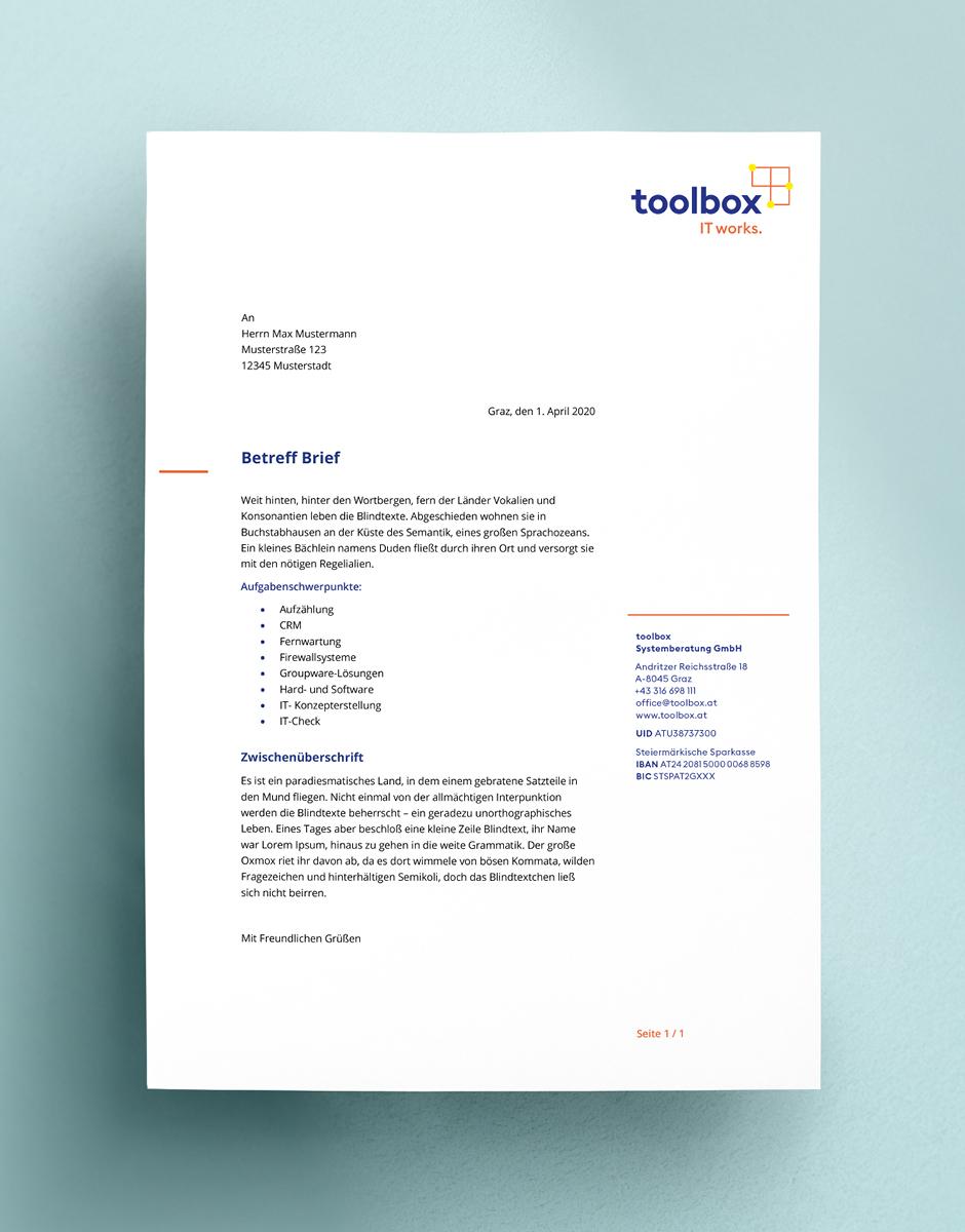 Briefbogen im Rahmen des neuen Markenauftritts für toolbox Systemberatung von look! design