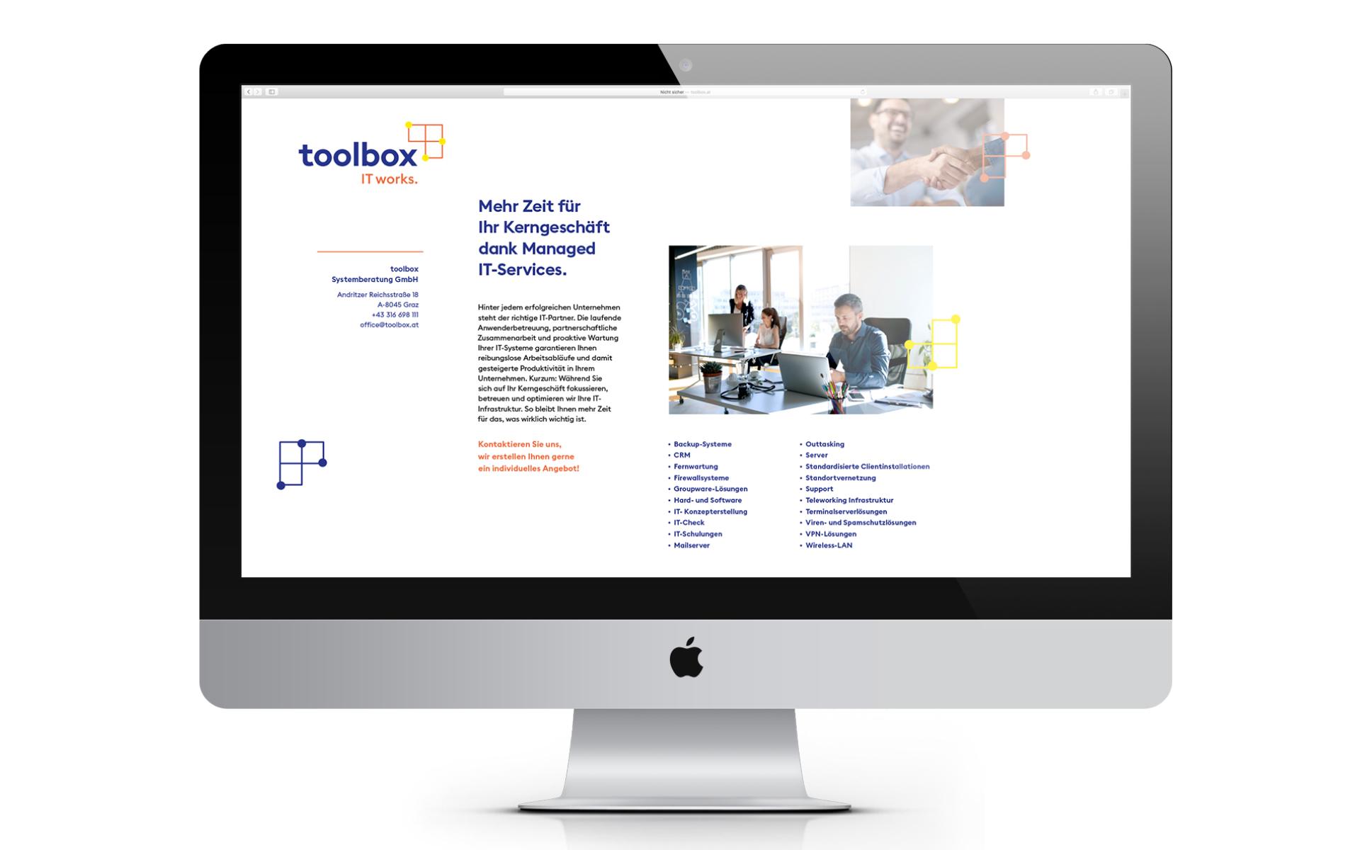 Digitale Visitenkarte im Rahmen des neuen Markenauftritts für toolbox Systemberatung von look! design