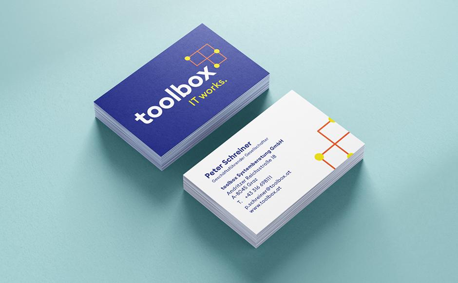 Visitenkarten im Rahmen des neuen Markenauftritts für toolbox Systemberatung von look! design