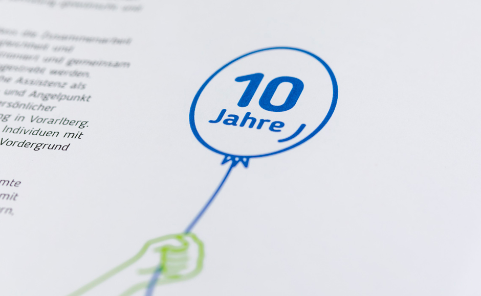 Gratulationsbuch für die Servicestelle Persönliche Assistenz Vorarlberg von er Designagentur look! design