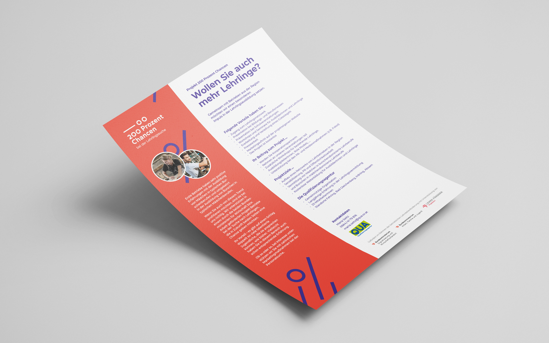 Infoblatt für das Projekt 200 Prozent Chancen von der Designagentur look! design